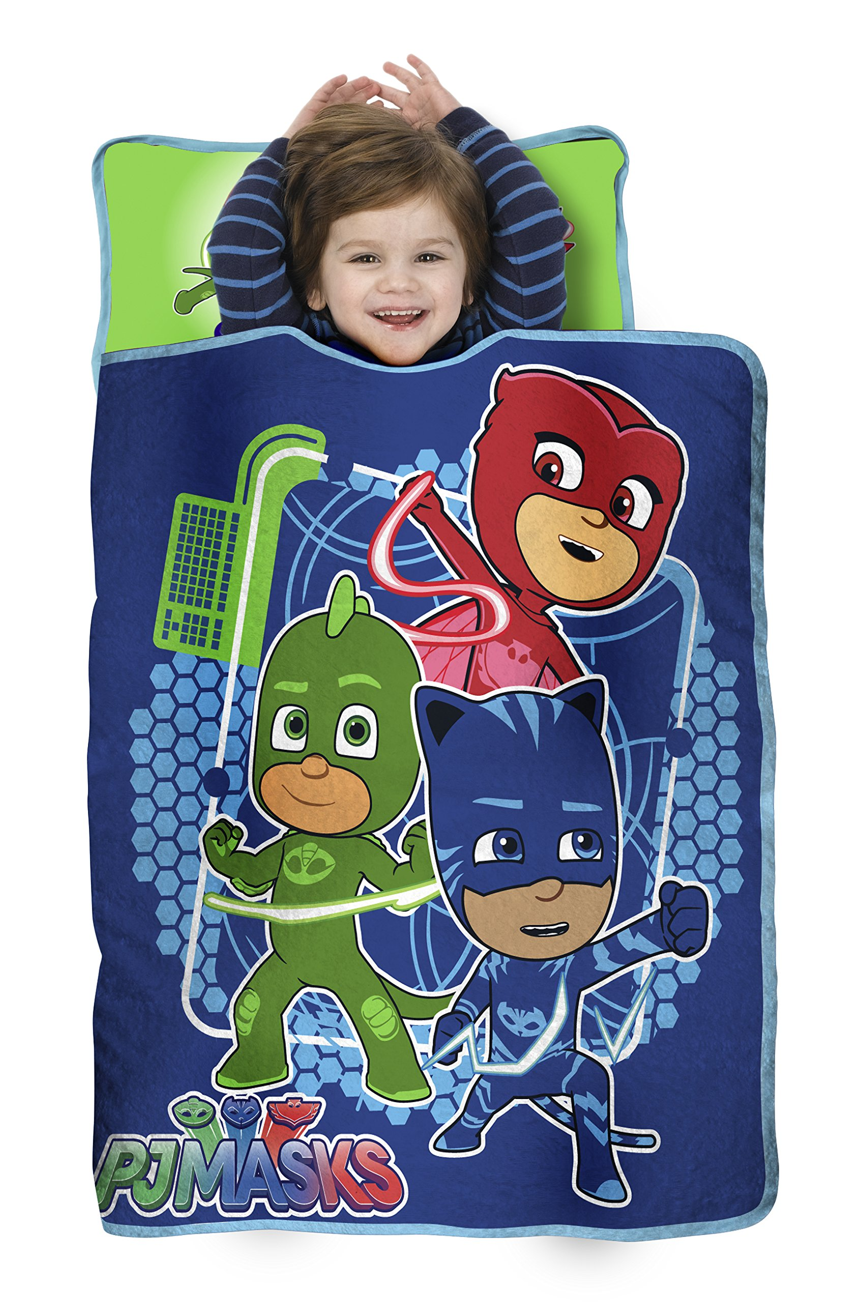 PJ Masks All Shout Horray Toddler Nap Mat - Includes Pillow and Fleece Blanket – Great for Boys and Girls Napping at Daycare, Preschool, Or Kindergarten - Fits Sleeping Toddlers and Young Children