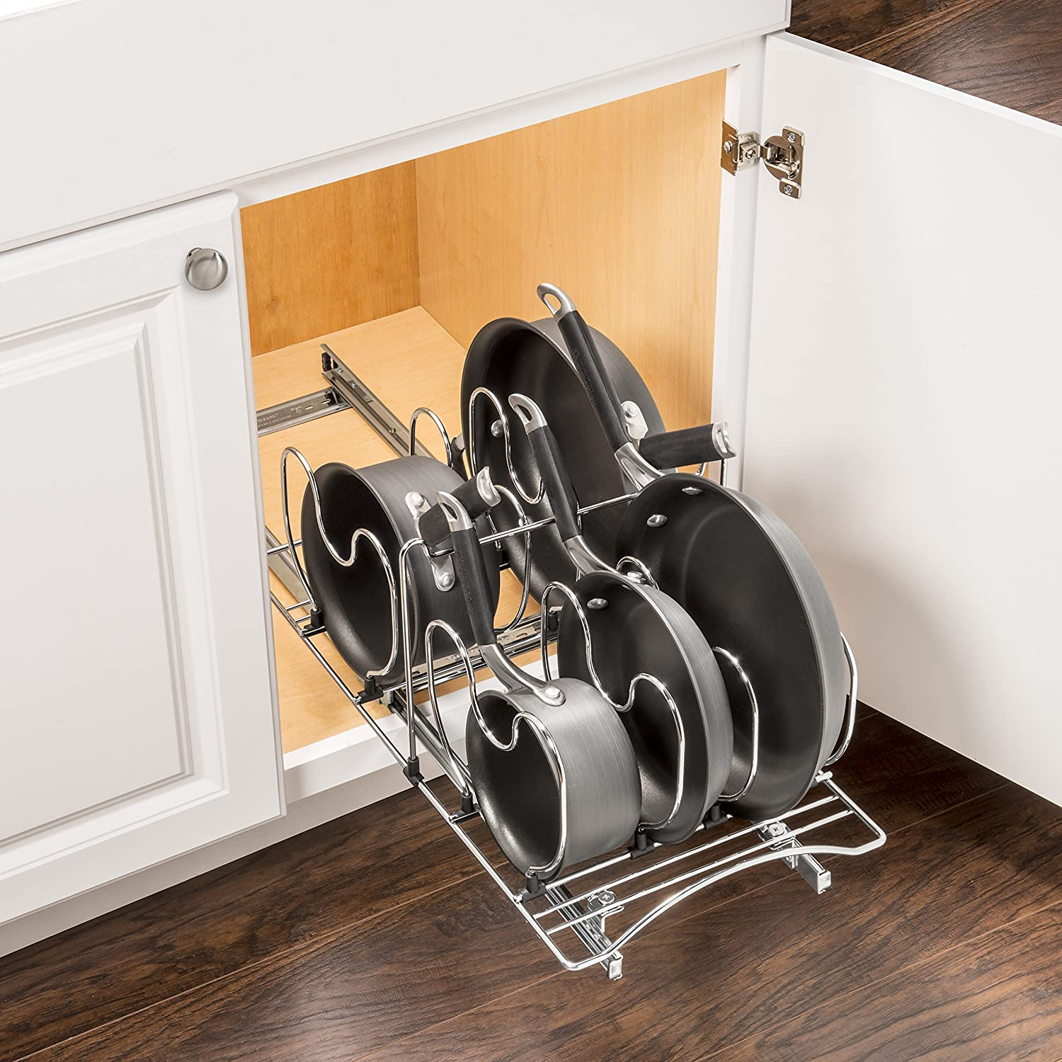 Lynk roll out under sink cabinet organizer pull out two tier sliding - Amazon Com Lynk Professional Roll Out Cookware Organizer Pull Out Under Cabinet Sliding Rack Chrome