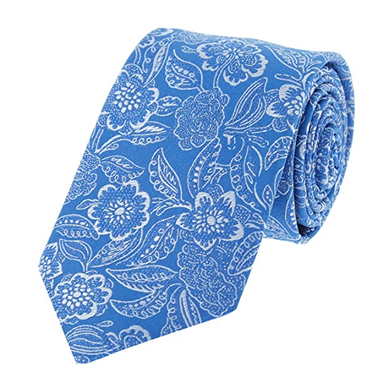 c278e3397be3 Image Unavailable. Image not available for. Colour: TED BAKER London Mens  100% Woven Silk Neck Tie Necktie Blue White Leaves Floral