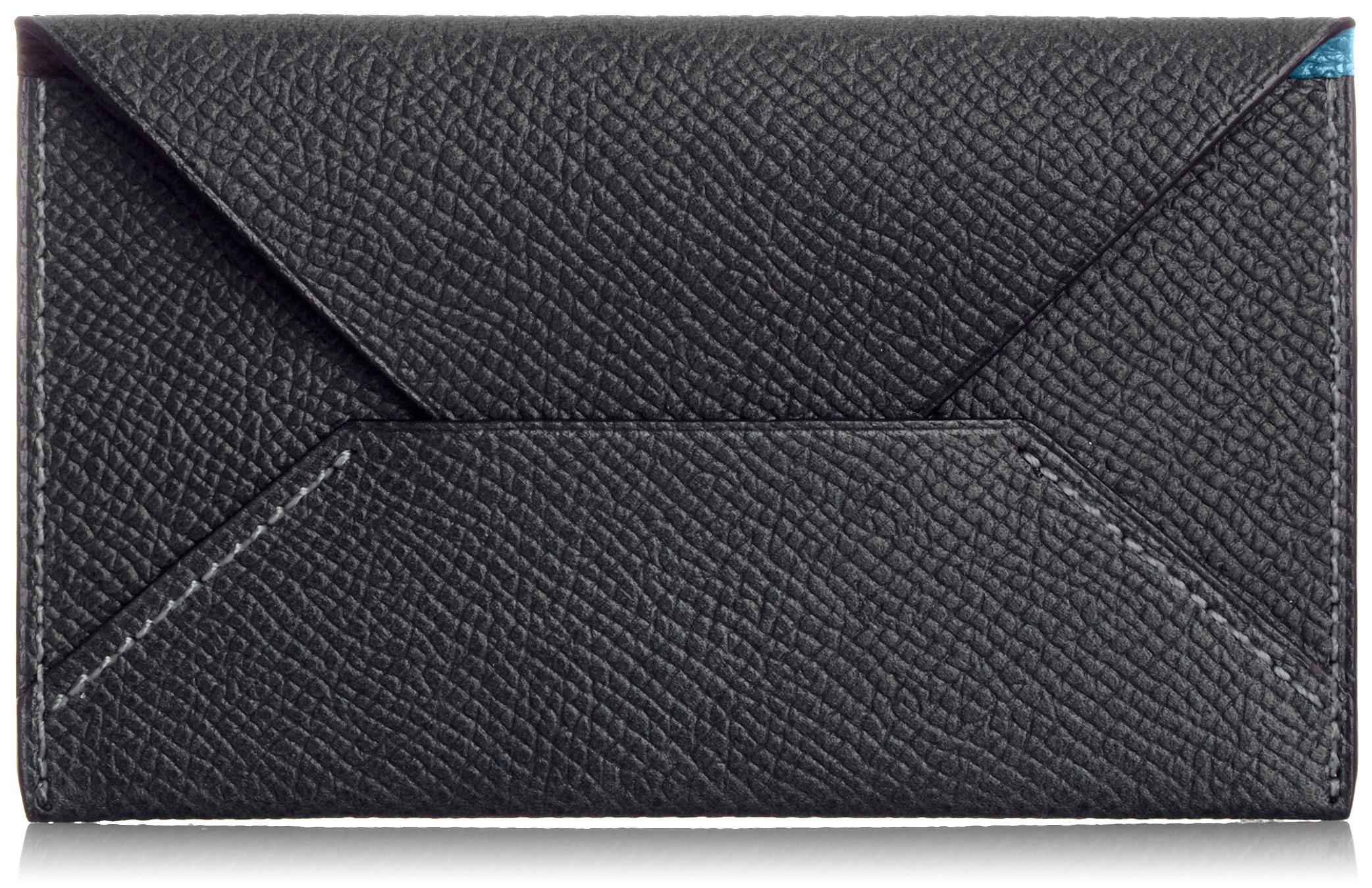 MAISON de HIROAN Leather Business card case Made in Japan 21556 Black/Blue by MAISON de HIROAN