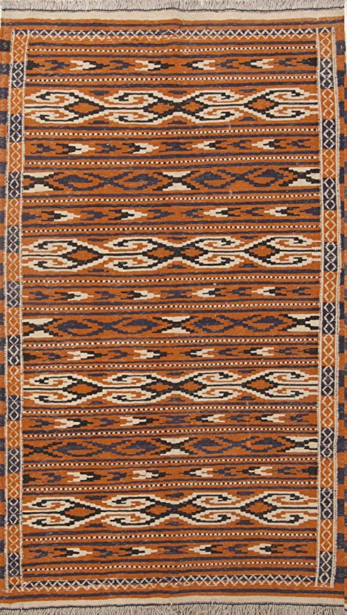 Rug Source One Of A Kind New Kilim Geometric Hand Woven 4x6 Brown Wool Area Rug 6 1 X 3 7 Kitchen Dining