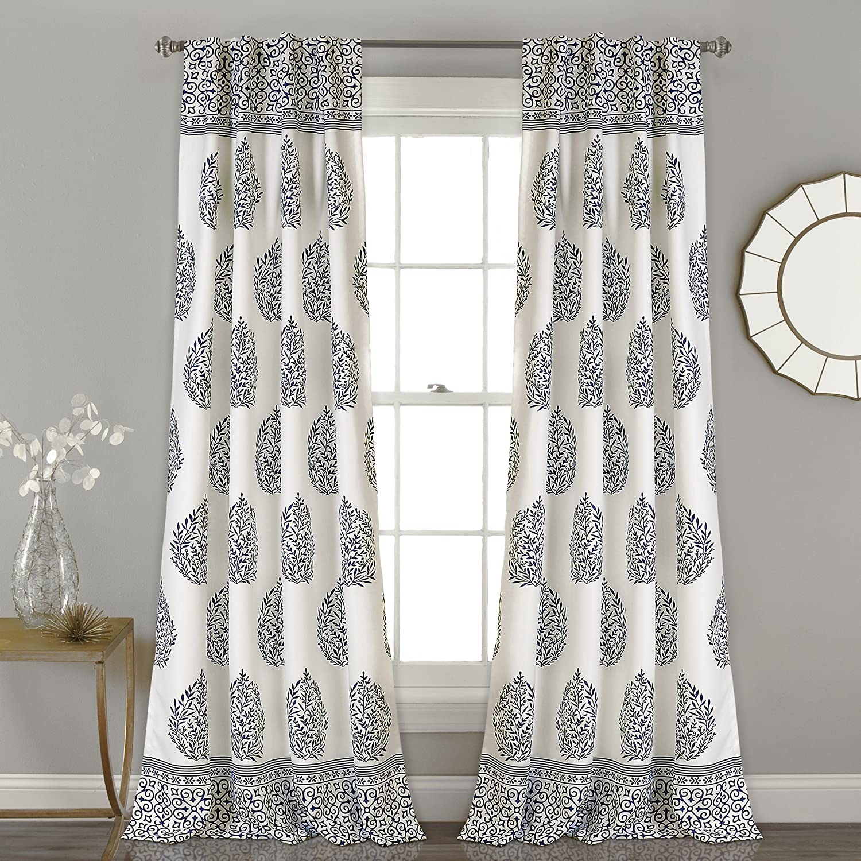 "Lush Decor Teardrop Leaf Curtains Room Darkening Window Panel Set for Living, Dining, Bedroom (Pair), 84""x 52"", Navy"