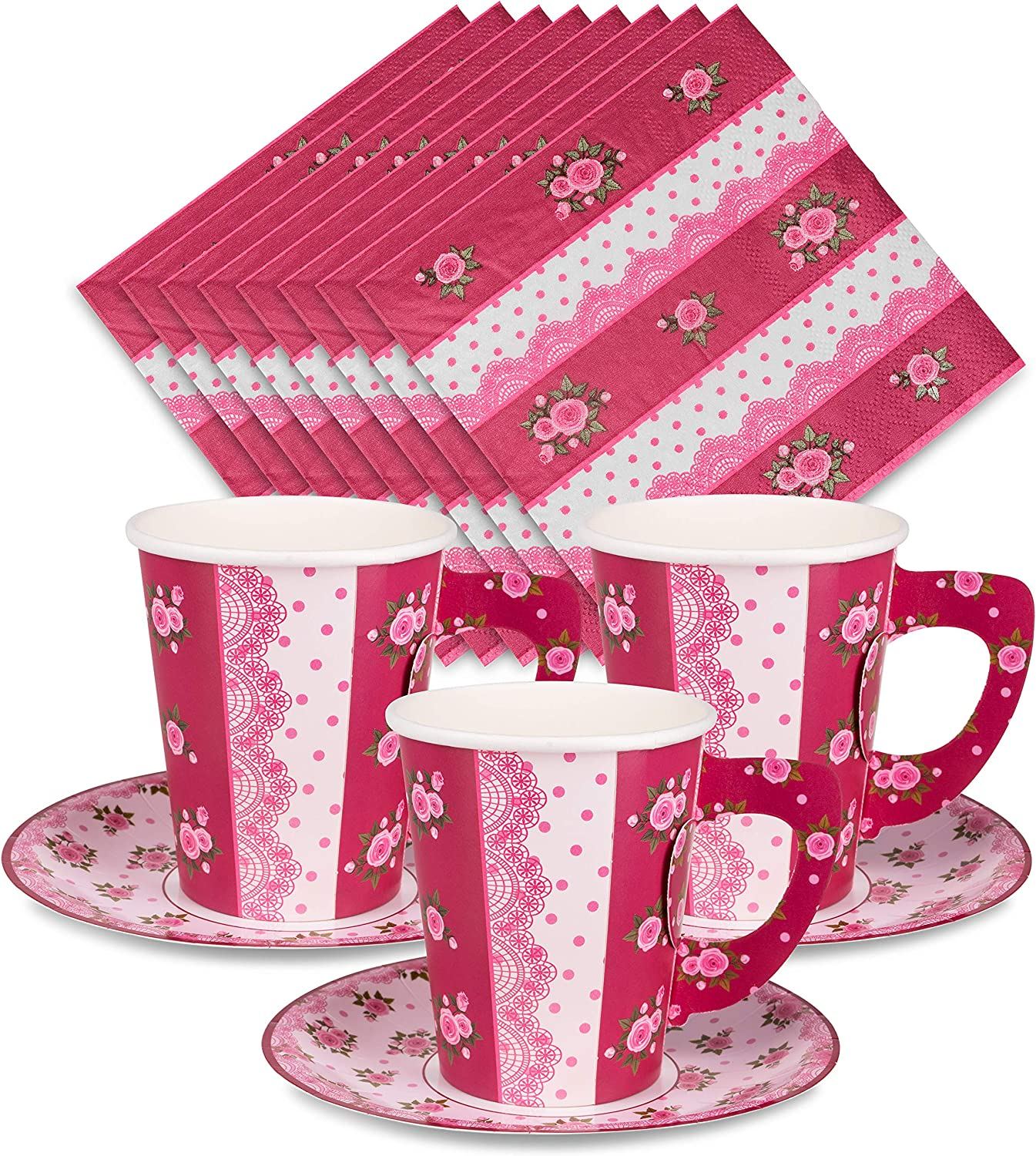 Tea Party Decorations - 24 Paper Tea Cups, Tea Party Plates, Tea Party Napkins - Disposable Paper Teacups and Saucer Sets for Birthday, Baby Shower, Wedding, Fancy Princess Theme Little Girls Parties