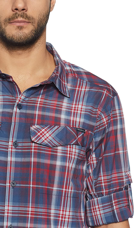 Columbia Men's Silver Ridge Plaid Long Sleeve Shirt Collegiate Navy Plaid