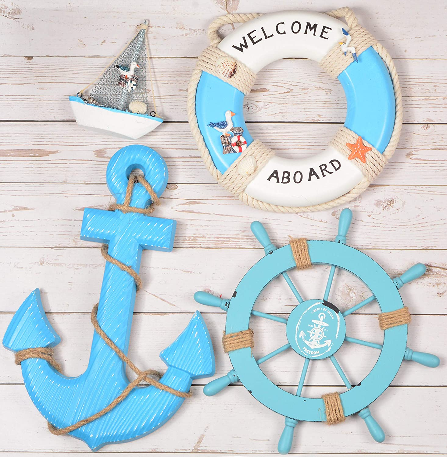 Wooden Nautical Lighthouse Anchor Wall Hanging Ornament, Beach Wooden Boat Ship Steering Wheel Wall Decor, Nautical Life Ring Wall and Door Hanging Ornament Plaque, Welcome Abroad Life Ring (Blue)