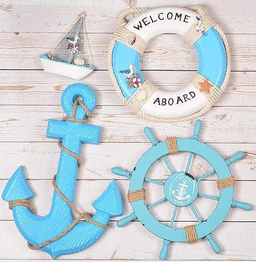 Wooden Anchor Decor Hand Crafted Nautical Beach Coastal Decor 37 L CM x 32 W CM