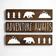 Adventure Awaits, Nursery Decor Boy Woodland Rustic 3 piece set