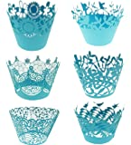 Bilipala Blue Cupcake Wrappers, Lace Cupcake Wrappers, Cupcake Liners, Pack of 60