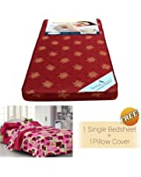 Story@Home MAT_1102-SP1217 4-inch Single Size Foam Mattress (Maroon, 72x30x4)