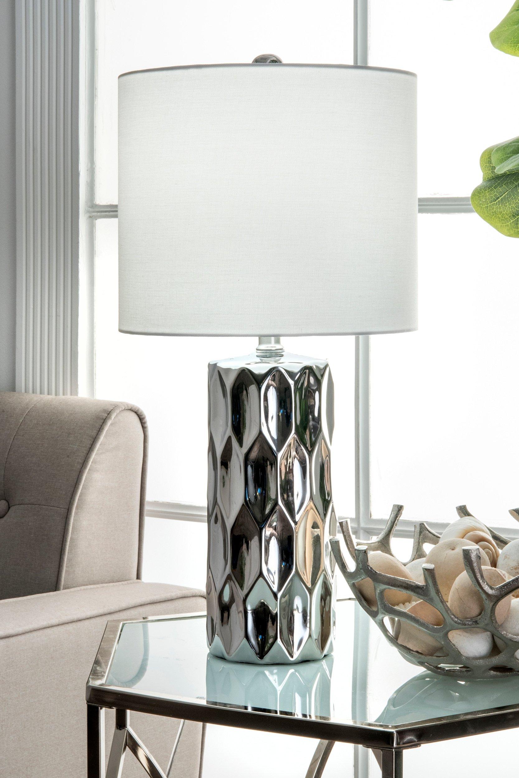 Watchill Lighting 22-inch Oriana Ceramic Linen Shade Table Lamp