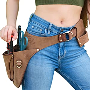 """LIFETIME Premium Leather Tool Belt -Fits to 53"""" - Garden Tool Belt for Women & Men-Handmade, Electrician Small Tool Belt Pouch -Full Grain Leather Won't Slide Pinch Dig or Drop Tools"""