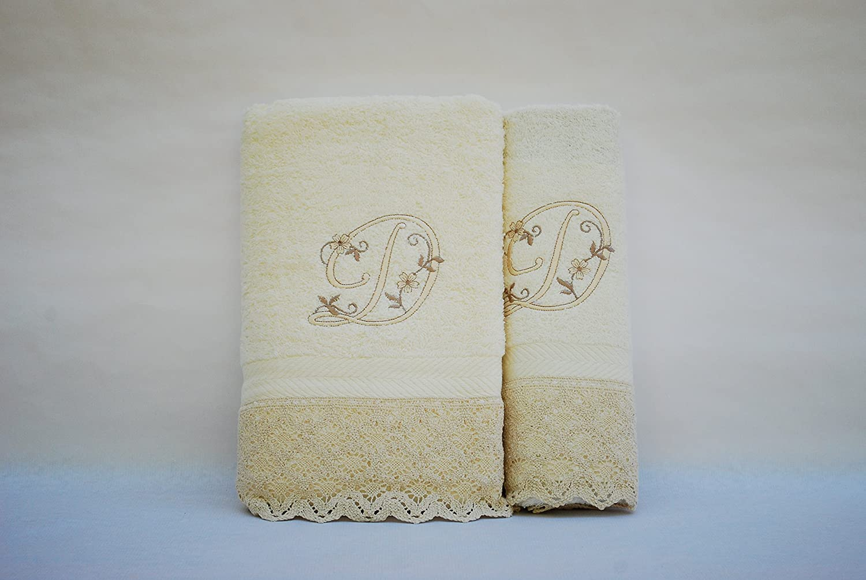 Juego de 3 toallas beije LETRAS INICIALES BORDADAS 100/%algod/ón, D 100x150, 50x100, 50x30 fabricado en Portugal.