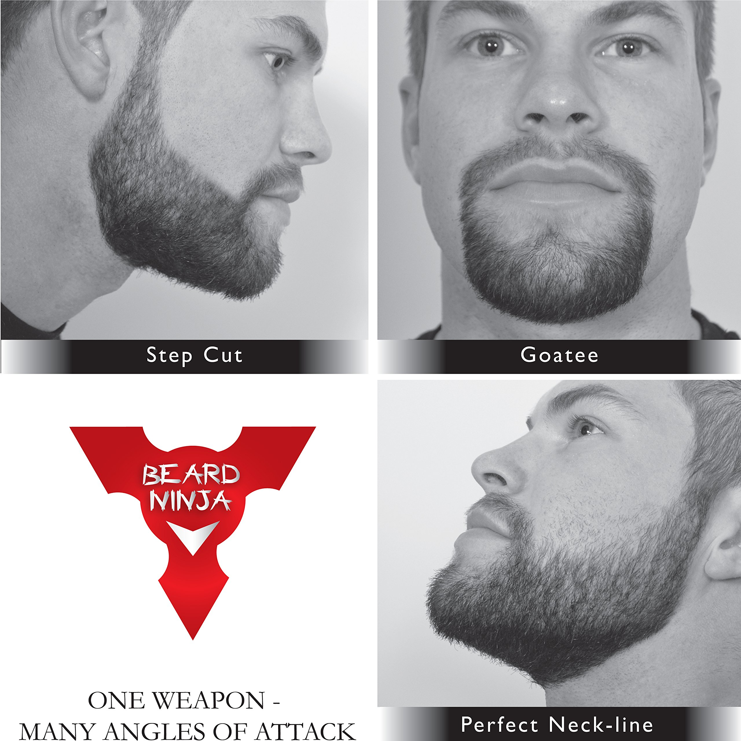 The BEARD NINJA - Beard Shaping Tool Template. Beard shaper guide for line up & edging. TRANSPARENT styling stencil +ANTI-SLIP GRIP. Curve/Step/Straight Cut, Goatee & Perfect Neck Line