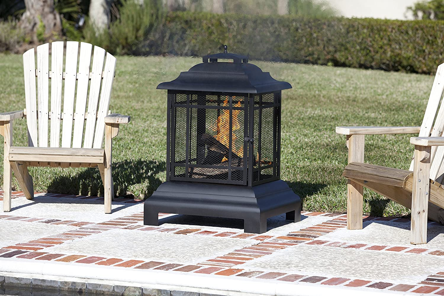Amazon.com : Fire Sense Rectangle Pagoda Patio Fireplace : Outdoor  Fireplaces : Garden U0026 Outdoor