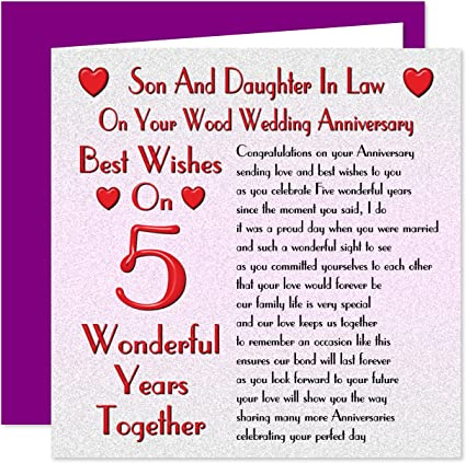 Anniversario Matrimonio 5 Anni.Son Daughter In Legno Diritto 5th Anniversario Di Matrimonio