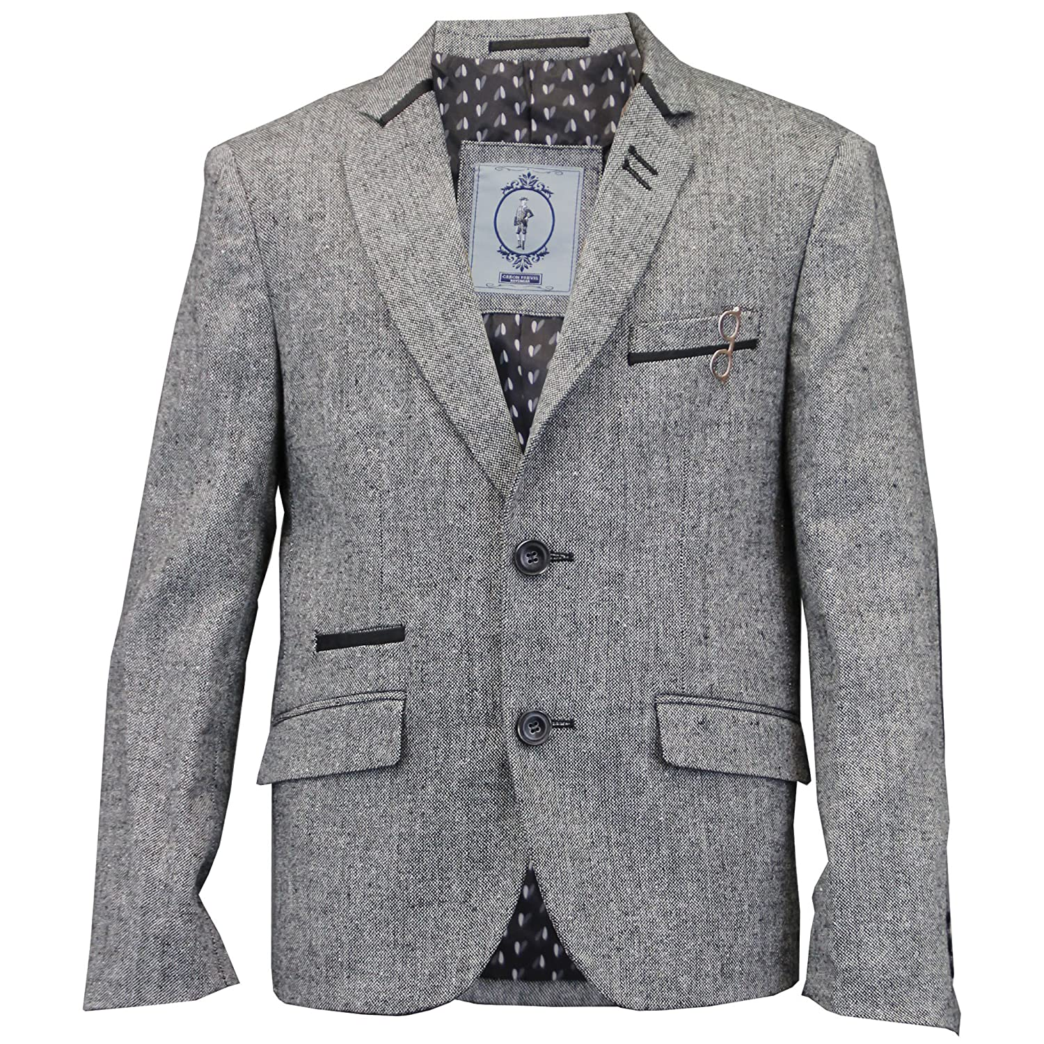 Boys Kids Wool Mix Herringbone Tweed Blazer Patches Jacket By Creon Previs