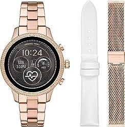 879de01329300 Michael Kors Access Womens Runway Touchscreen Smartwatch Stainless Steel  Bracelet Leather Set watch