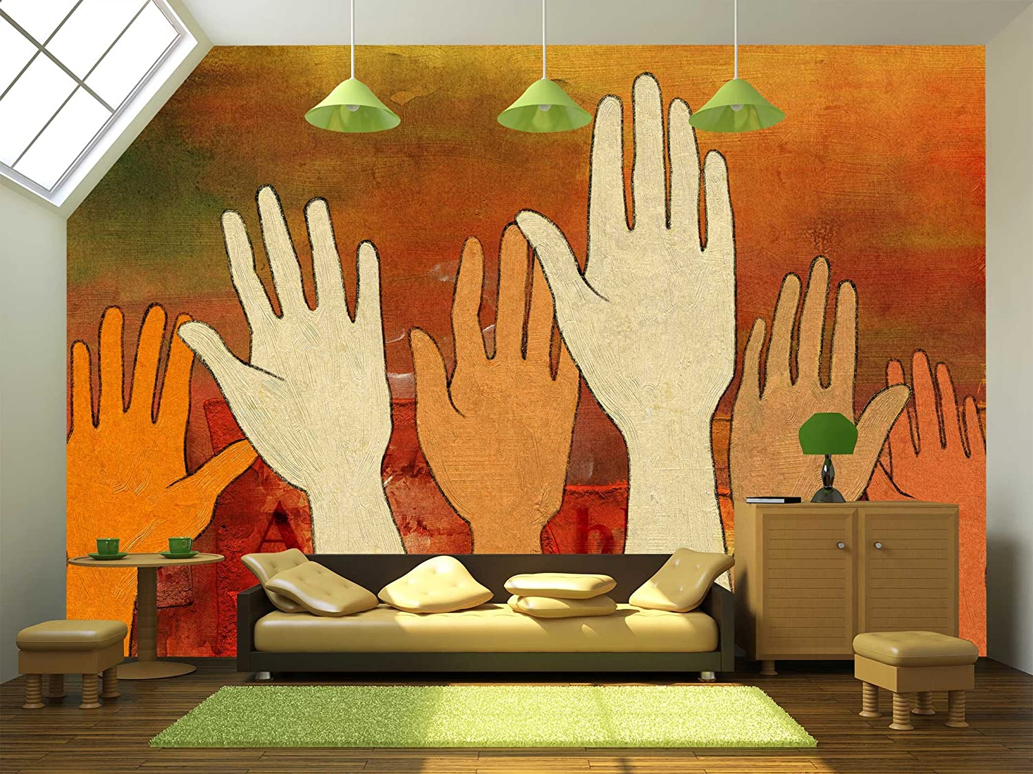 Illustration Group of Raised Hands over a Colorful and Textured ...