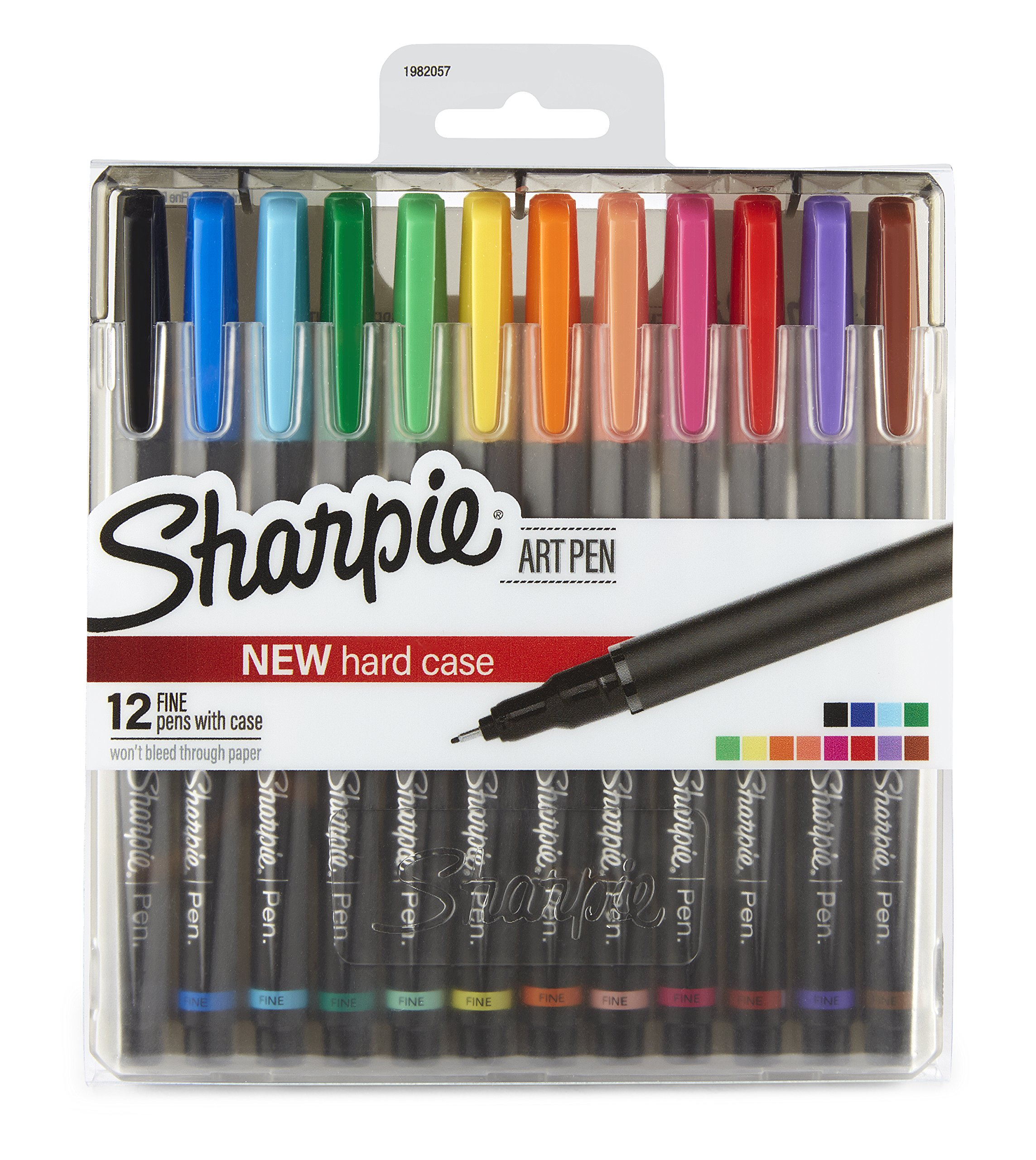 Sharpie Art Pens, Fine Point, Assorted Colors, Hard Case, 12 Pack (1982057) by Sharpie