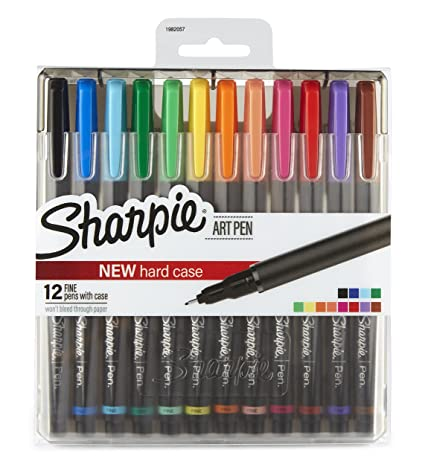 Sharpie Art Pens, Fine Point, Assorted Colors, Hard Case, 12 Pack (