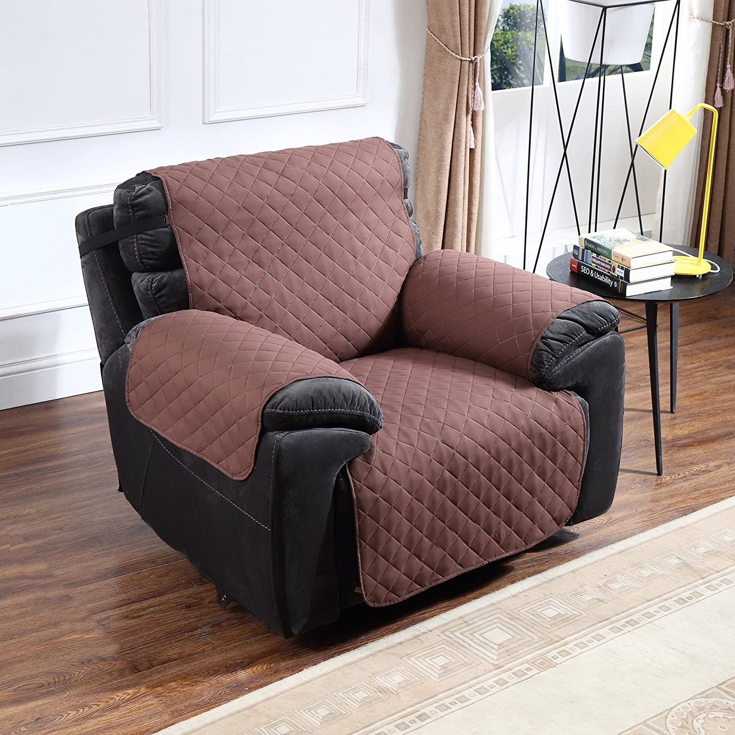 Argstar Reversible Recliner Cover Chair Protector Slipcover Easy Clean Chocolate/Natural