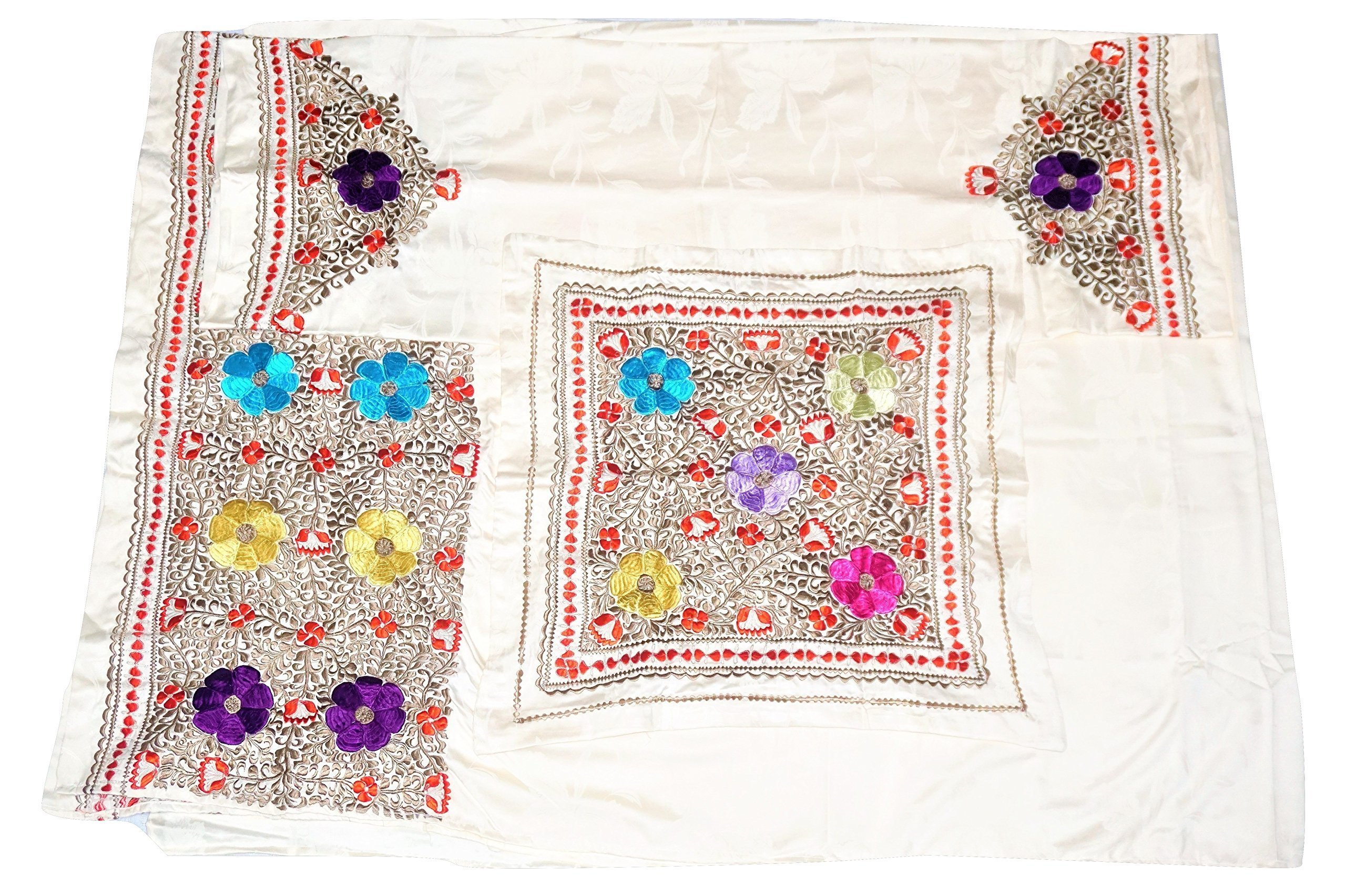 Moroccan Silk Embroidered Cotton Bedspread with Matching Pillowcases by Atlas Showroom