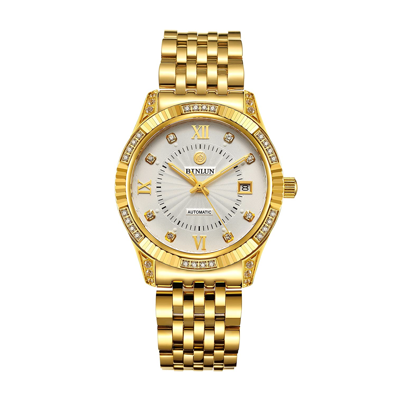Binlun Herren Uhren 18 K Gold Edelstahl Luxus Skelett Armbanduhr