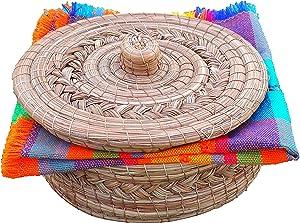 Mexican Handwoven Tortilla Basket & Handloomed Tortilla Cloth Warmer Keeper Bundle 100%, Tortilla Warmer, Tortilla Holder, Tortillero, Pine Leaf Baskets Handmade, Mexican Bowls, Tortilla & Pancake