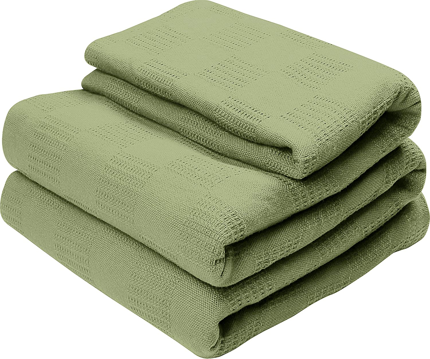 Utopia Bedding Premium Summer Cotton Blanket King Sage Green - Soft Breathable Thermal Blanket - Ideal for Layering Any Bed