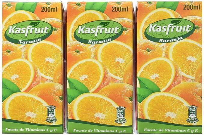 Kasfruit - Refrsco Sabor Naranja - 3 X 200 ml - [Pack de 8]