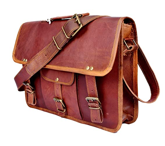 2b9d0752f7d1 Sankalp Leather Men's Genuine Vintage Brown Leather Messenger Shoulder  Laptop bag Briefcase, 100% Pure Leather with free shipping