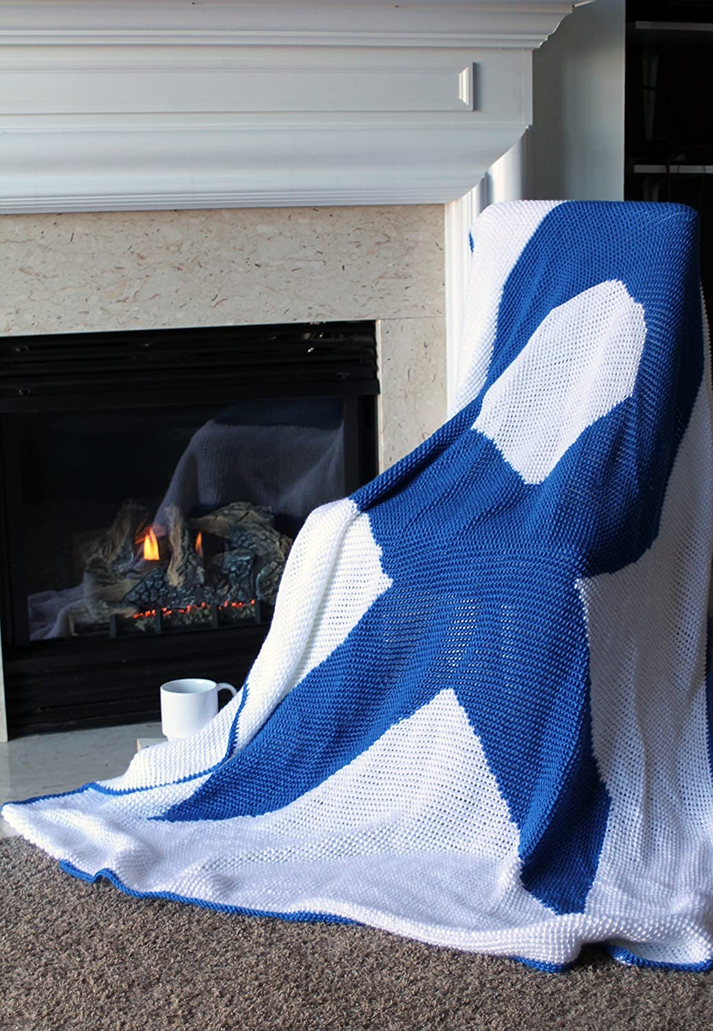 Image of Afghan Throw Blanket Crochet - Awareness Ribbon Royal Blue Large - Ready To Ship
