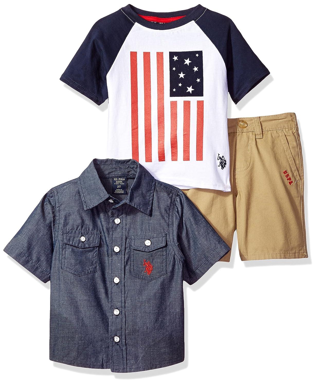 U.S. Polo Assn. Boys' Little Sleeve Sport T Shirt and Twill Short Set