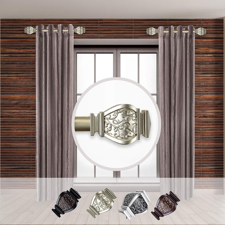 Rod Desyne Margot 1 - inc Dia. Side Curtain Rod 12-20 inch Long, Set of 2 Light Gold