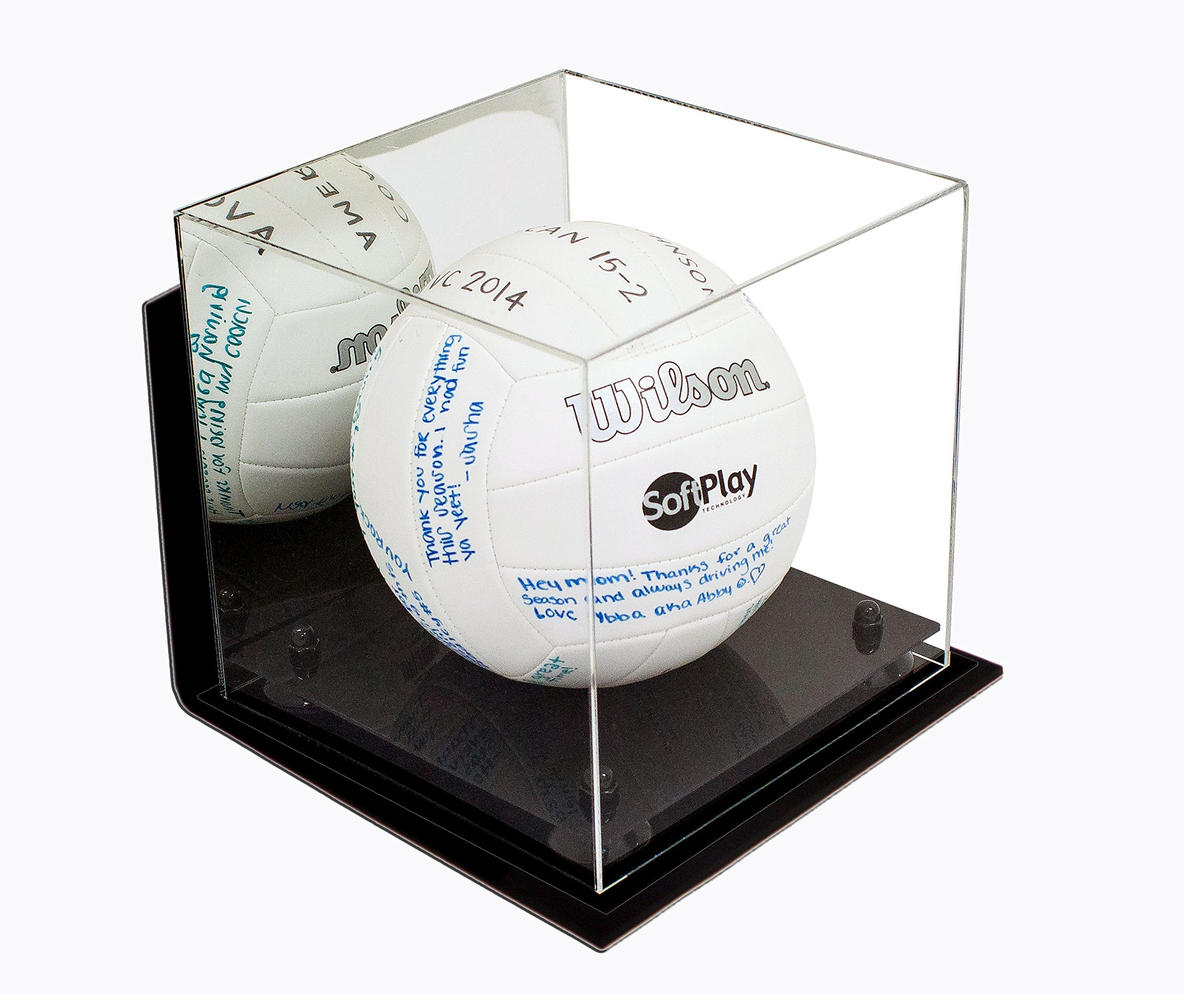 3f5fe83aa5a Deluxe Acrylic Volleyball Display Case with Black Risers Mirror and Wall  Mount (A027-BR)