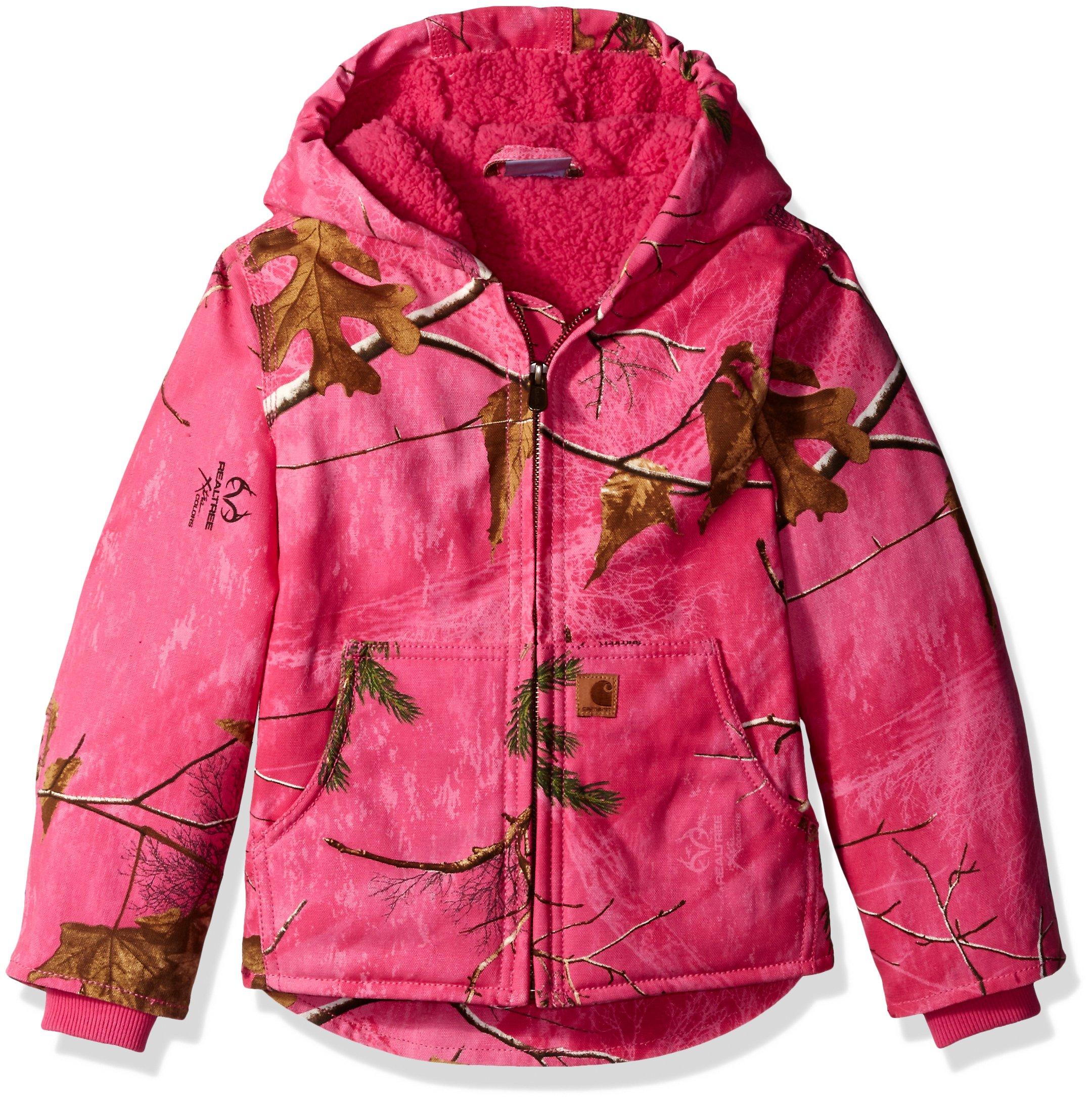 Carhartt Big Girls' Redwood Jacket Sherpa Lined, Realtree Xtra Pink, Large(14)