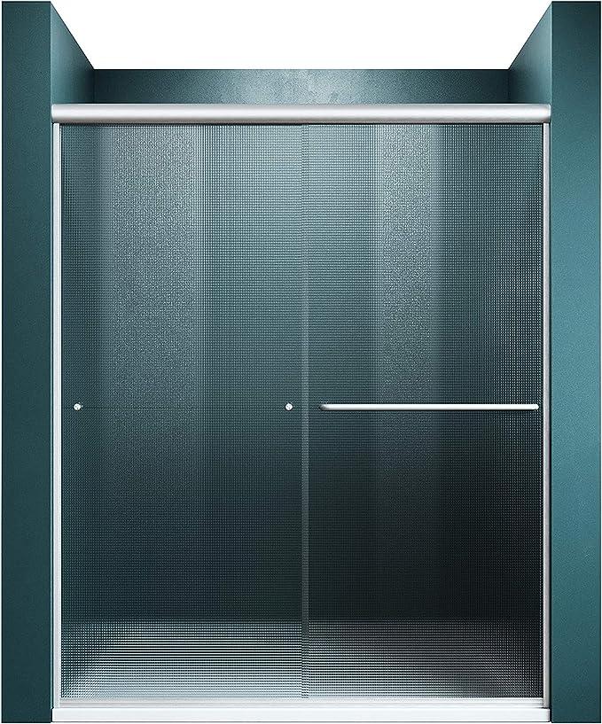 Elegant 58 5 60 W X 72 H Bypass Shower Door Double Sliding Shower Glass Door Semi Frameless Shower Door With 1 4 Frosted Glass Brushed Nickel Finish