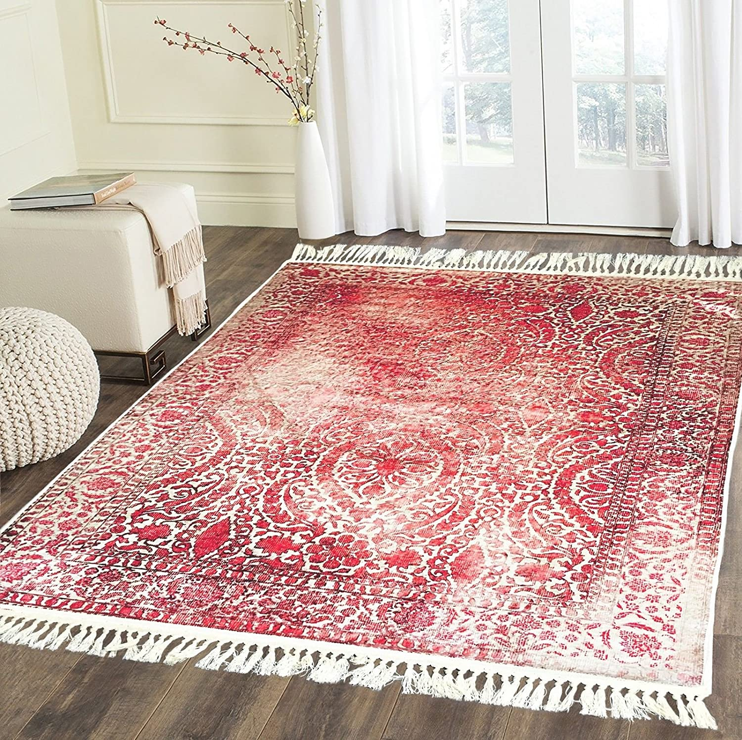 Home Must Haves Design Burgundy Beige High Density Luxury Large Soft Faux Silky Persian Traditional Oriental Flat Weave Hand-Knotted Area Rug Carpet for Living Room Bedroom (5'3 x 7'6') 5' 3 x 7' 6'