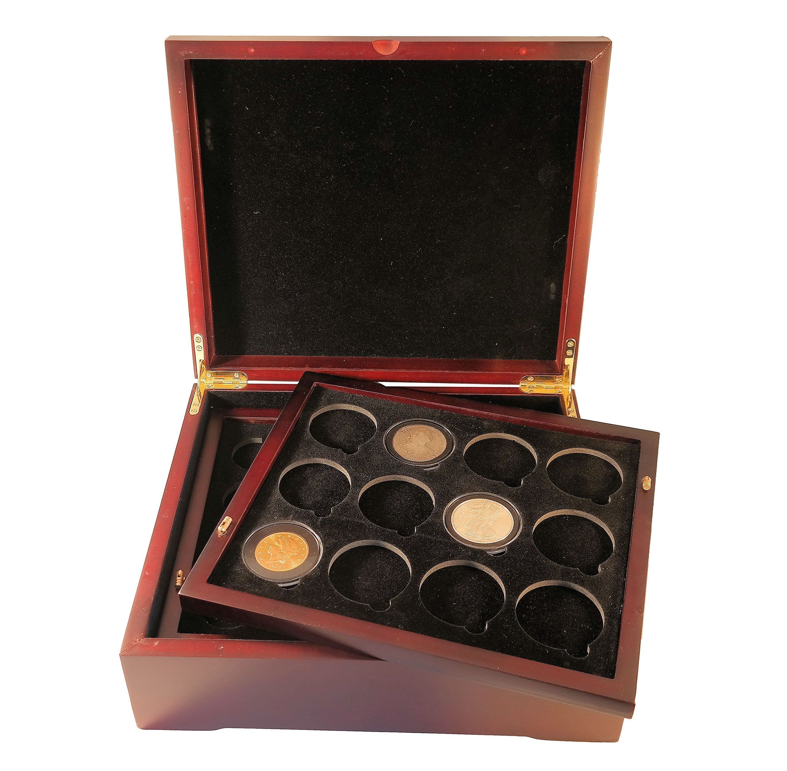 Coin Tray for 12 Extra Large or Air-Tite ''I'' Capsules / 2'' Challenge Coins fits in Mahogany Finish Wood Display Case by Guardhouse (Image #6)