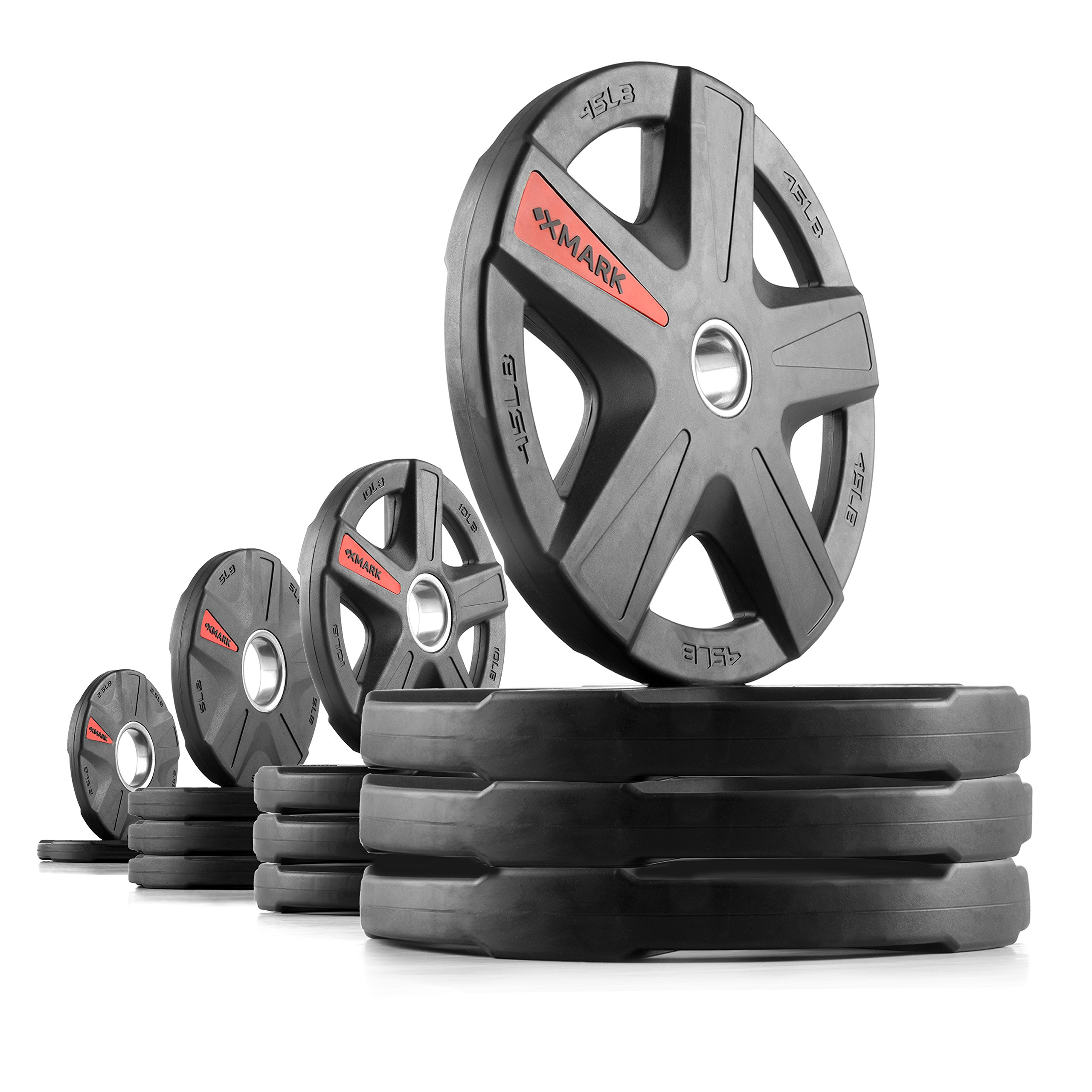 XMark Texas Star 245 lb Set Olympic Plates, Patented Design, One-Year Warranty, Olympic Weight Plates