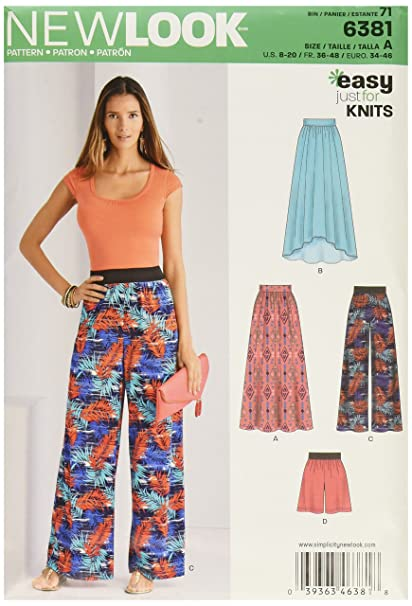 Amazon New Look 6381 Misses Knit Skirts And Pants Or Shorts