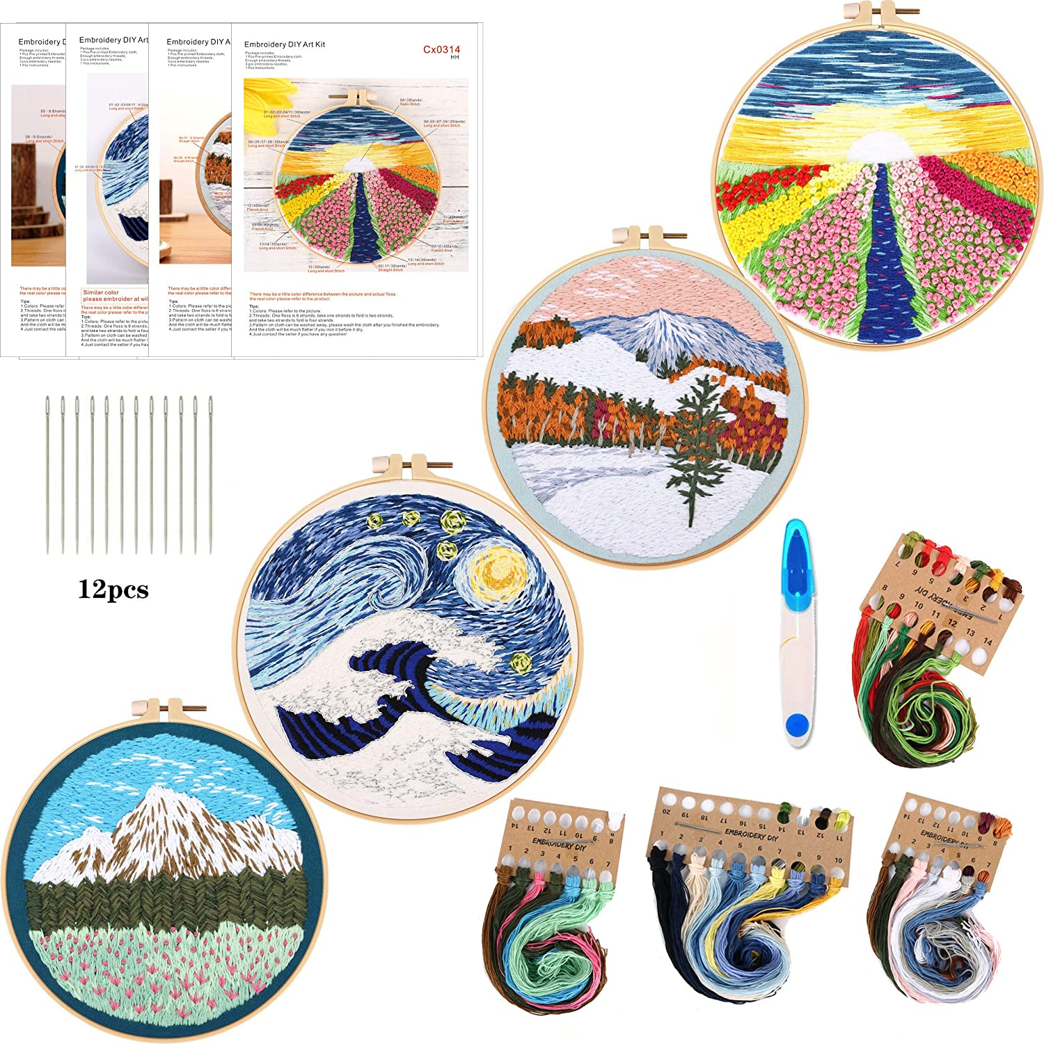 4Pack Embroidery Starter Kit with Pattern and Instructions, DIY Beginner Cross Stitch Kit Include 1 Embroidery Hoop,4 Embroidery Clothes with Scenery Pattern,Color Threads (Embroidery Kit-I)