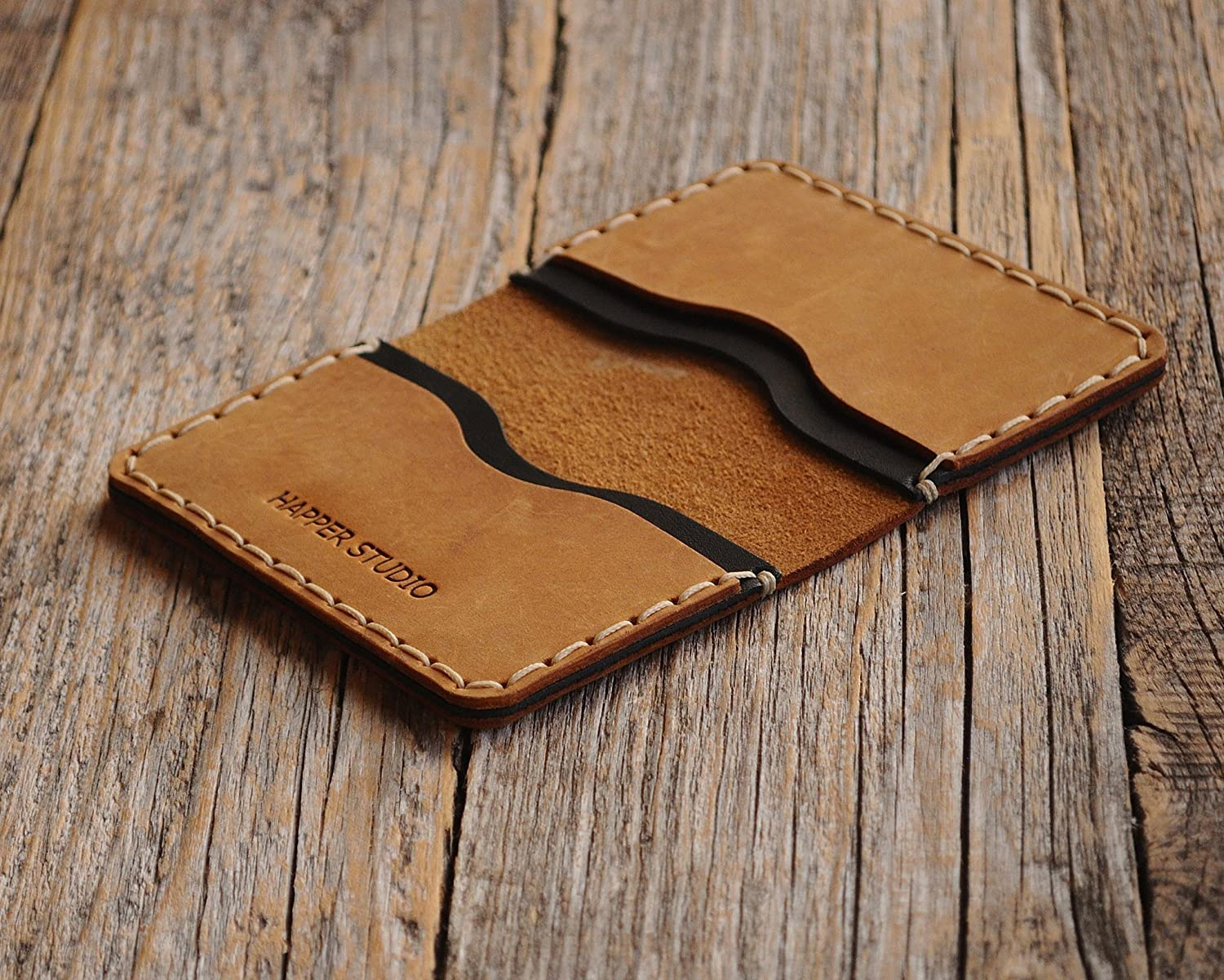 Personalised Leather Wallet. Tan brown and BlackCredit Card, Cash or ID Holder. Rustic Style Unisex Pouch. Monogram your Name or Initials