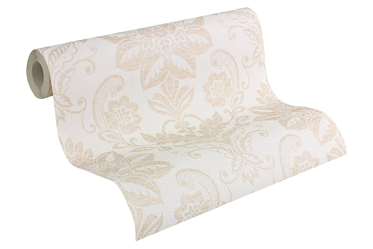 A.S. Création Vliestapete Shabby Style Tapete In Vintage Optik Klassisch  Neobarock 10,05 M X 0,53 M Beige Creme Metallic Made In Germany 293442  2934 42: ...