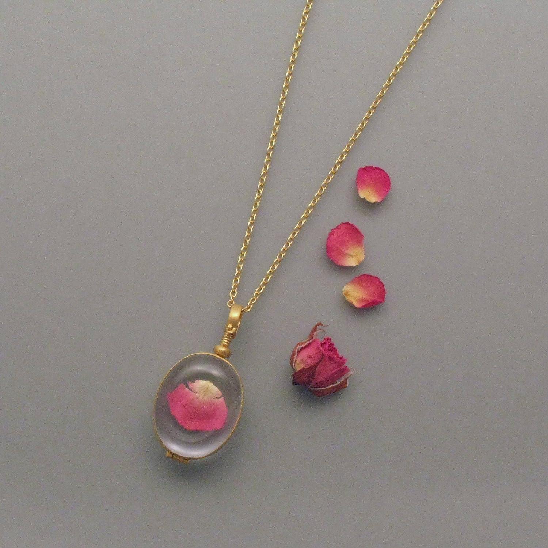 ovales Glas-Medaillon vergoldet