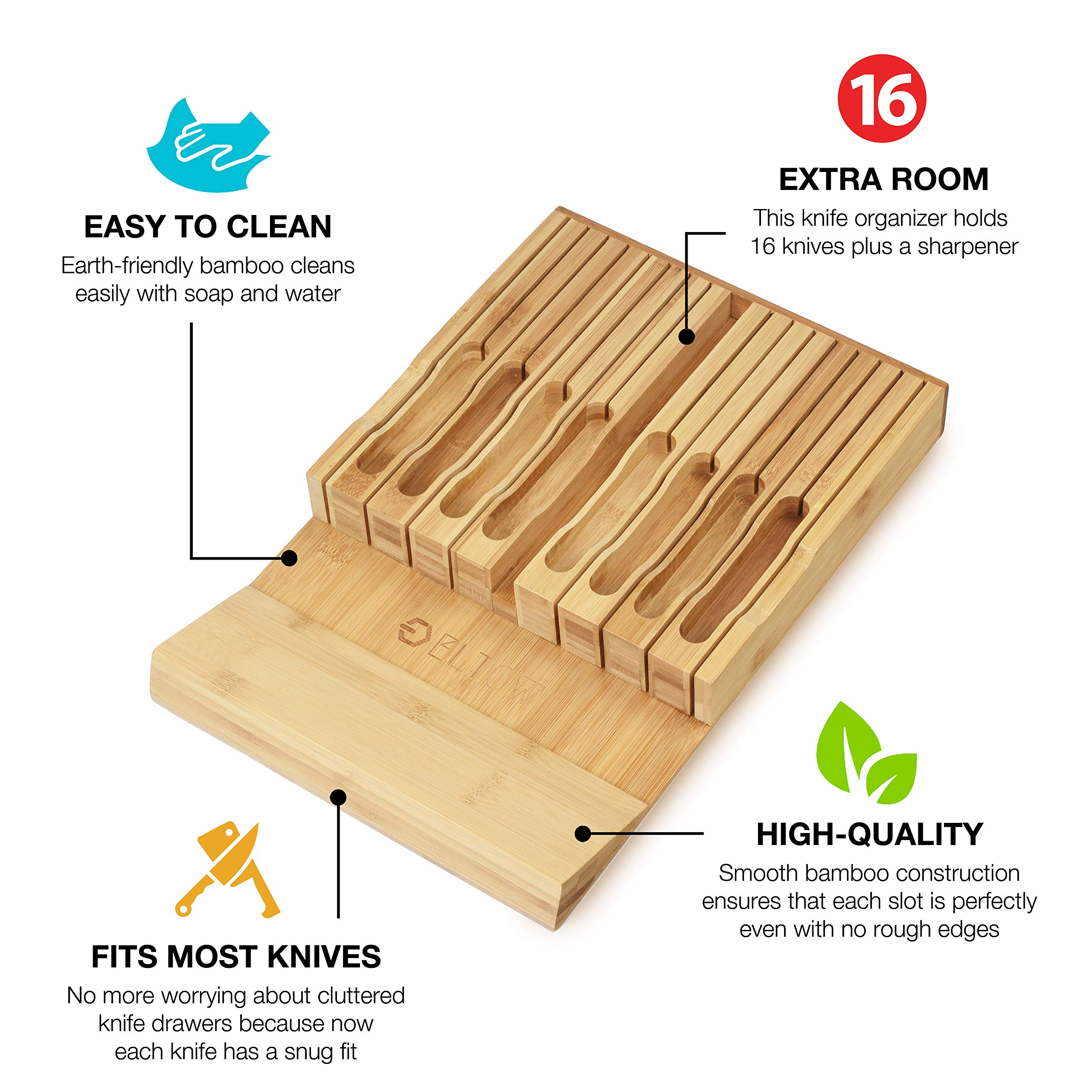 ELTOW In-Drawer 16 Knife Block Bamboo Organizer | Drawer Knife Set Storage with Safety Slots for 16 Knives and Knife Sharpener | Cutlery Set Holder Elegantly Crafted from MOSO Bamboo by ELTOW (Image #3)