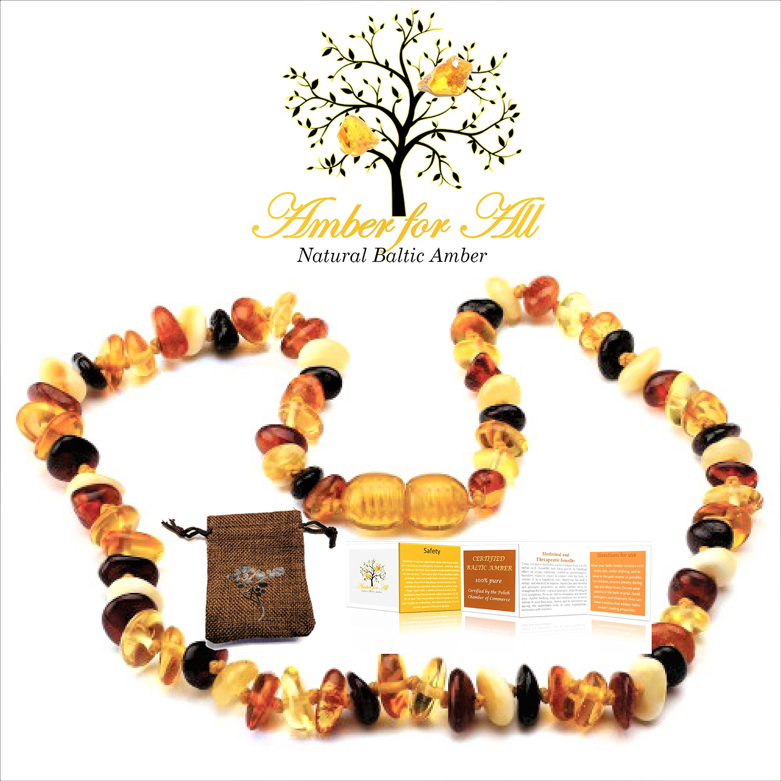 Baltic Amber Teething Necklace – reduces teething pain, drooling, inflammation – Certificates and Guarantees given – Unisex design – 13in (32cm) – polished mixed colors