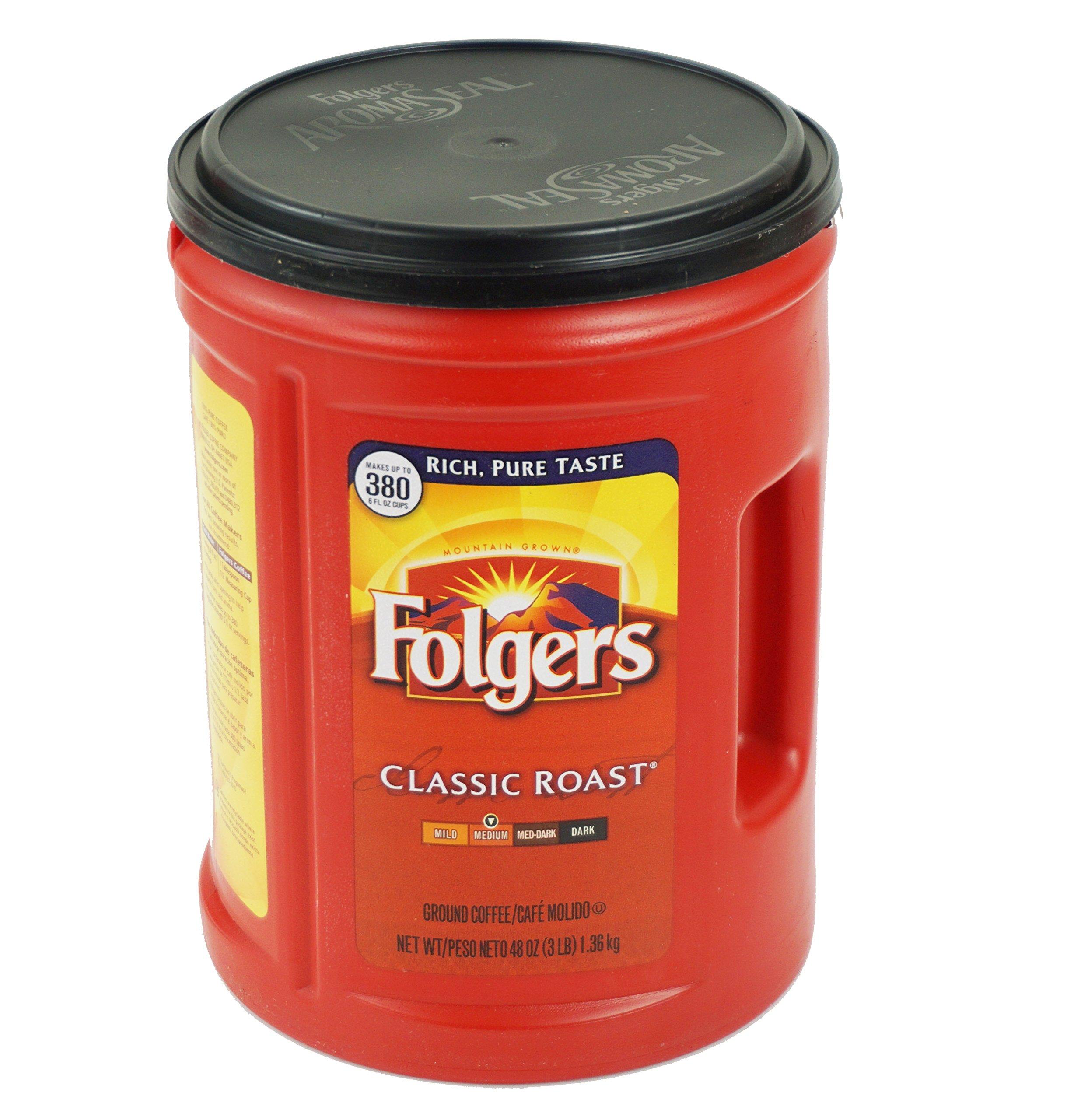 Fresh Taste of Folgers Coffee, Classic Roast Ground Coffee, Medium Flavor, 48 Oz Canister - (1 pk)