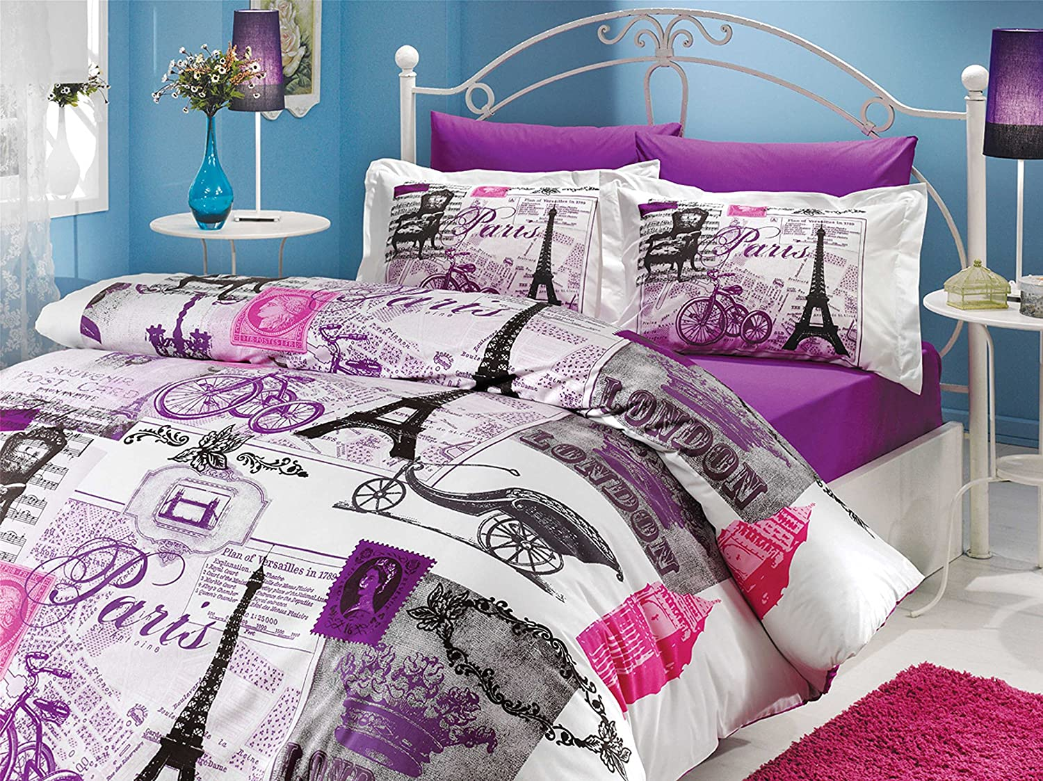 Good Amazon.com: 4 Pieces   Paris Viaje Love Eiffel Tower Print Theme Cotton  Bedding Duvet Cover Sets Bed, Purple, White, Lilac (Twin): Home U0026 Kitchen