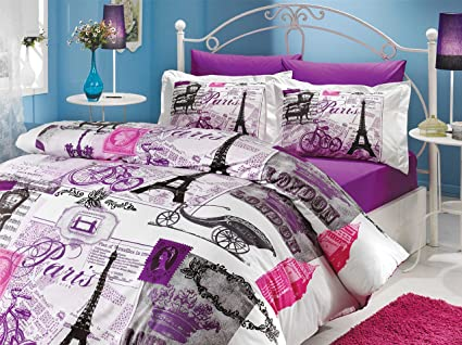 Incroyable Istanbul Home Collection Paris Series Ranforce Turkish Cotton 4 Piece  Eiffel Tower Themed Full Queen